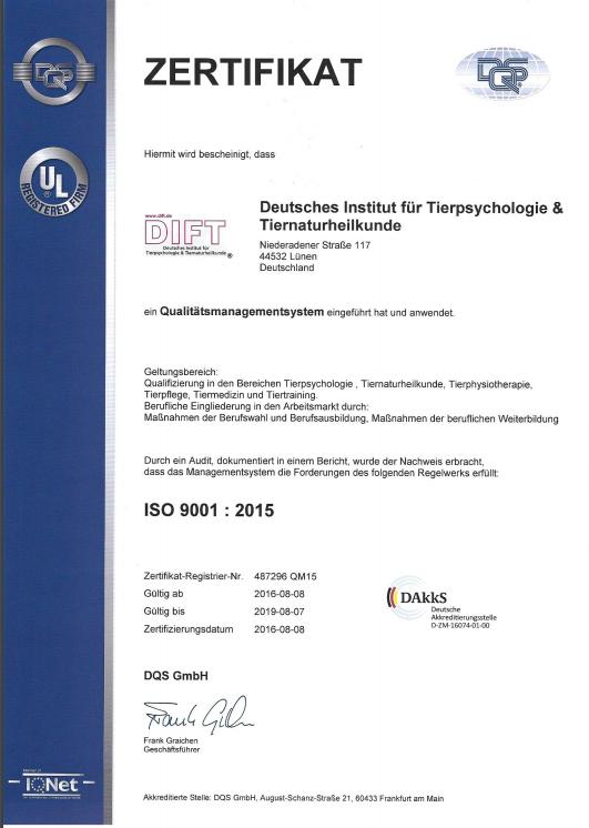 DIFT AZAV ISO 9001:2015
