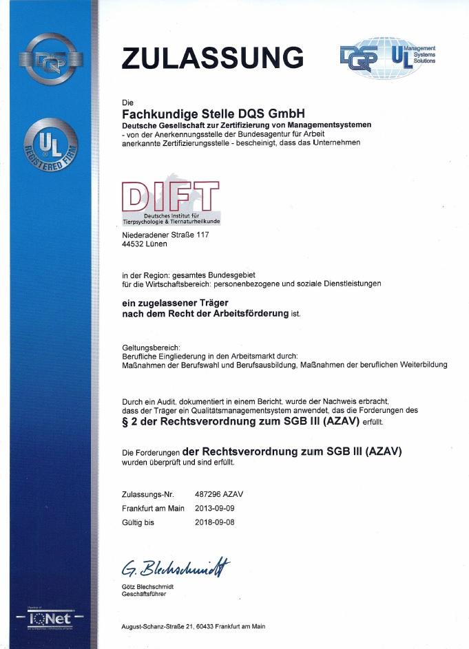 DIFT - Träger-Zulassung: